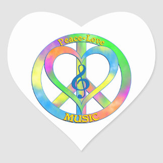 Peace Love Music Heart Sticker