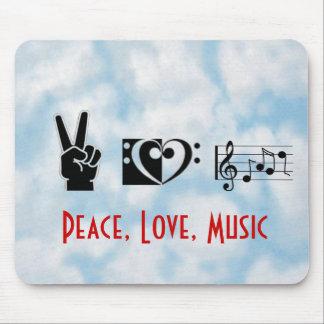 Peace, Love, Music Mouse Pad