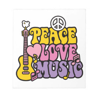 PEACE LOVE & MUSIC NOTEPADS