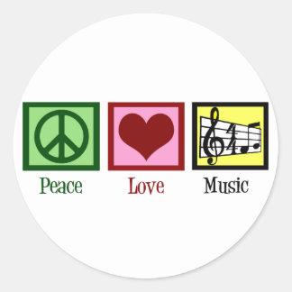 Peace Love Music Round Sticker