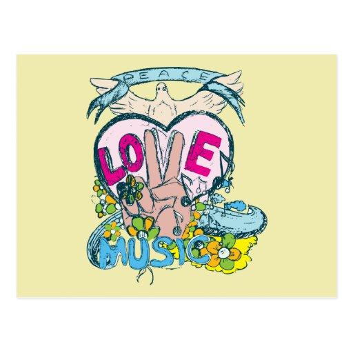 Peace Love Music - Sixties 1960 Illustration Postcards