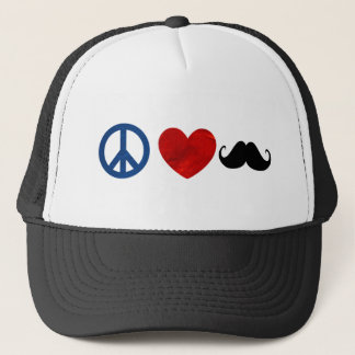 Peace, Love, Mustache Trucker Hat