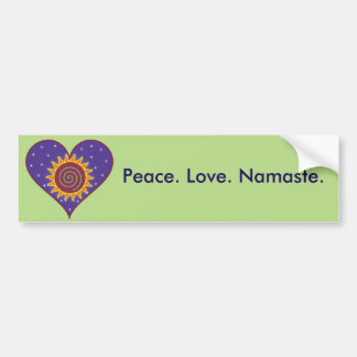 Peace. Love. Namaste. Bumper Sticker