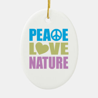 Peace Love Nature Ceramic Ornament