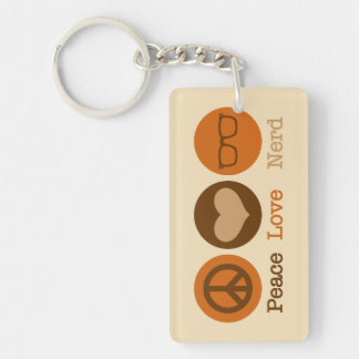 Peace Love Nerd Single-Sided Rectangular Acrylic Keychain