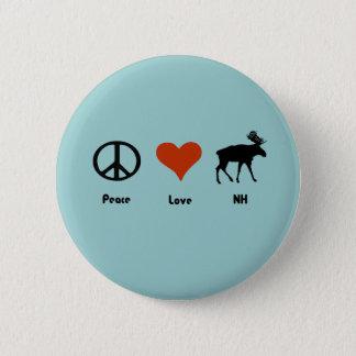 Peace Love New Hampshire 2 Inch Round Button