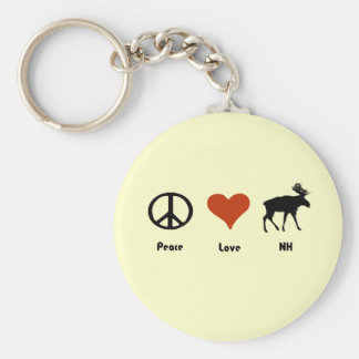 Peace Love New Hampshire Keychain