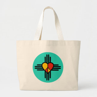 Peace Love New Mexico Large Tote Bag