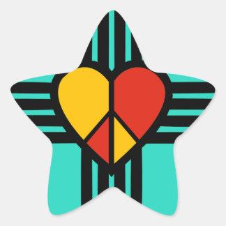 Peace Love New Mexico Star Sticker