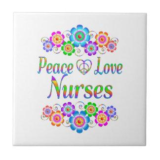 Peace Love Nurses Flowers Tile