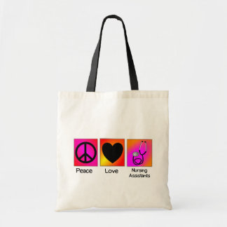 Peace Love Nursing Assistant Pink and Orange Tote Bag