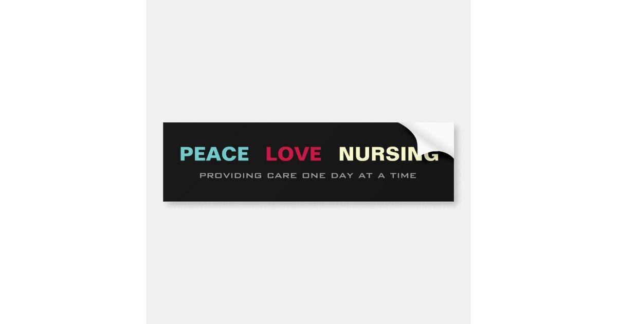 Love nursing car bumper sticker zazzle - Peace Love Nursing Bumper Sticker Zazzle