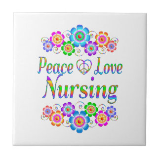 Peace Love Nursing Flowers Tile