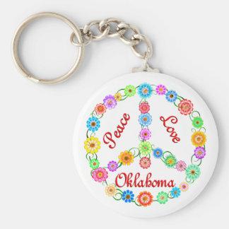 Peace Love Oklahoma Keychain