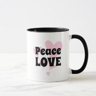 Peace Love on Floating Pink Hearts Mug
