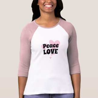 Peace Love on Floating Pink Hearts T-Shirt
