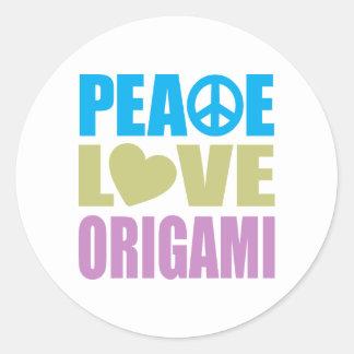Peace Love Origami Classic Round Sticker