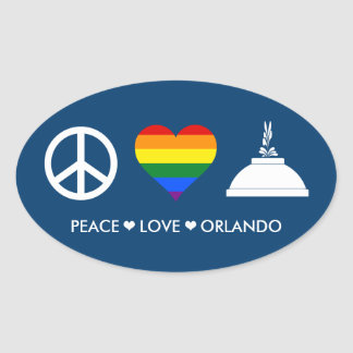 PEACE LOVE ORLANDO OVAL STICKER