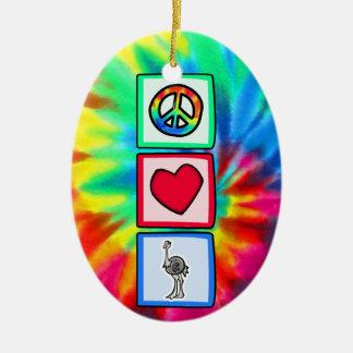 Peace, Love, Ostriches Ceramic Oval Ornament