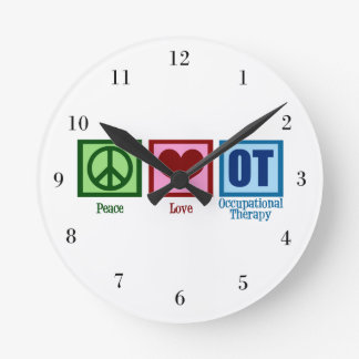 Peace Love OT Round Clock
