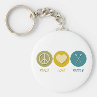 Peace Love Paddle Basic Round Button Keychain