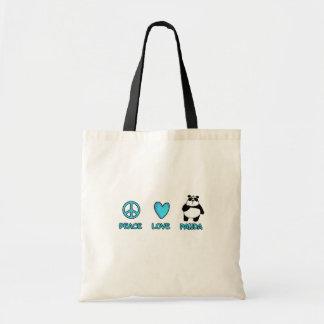 peace love panda tote bag