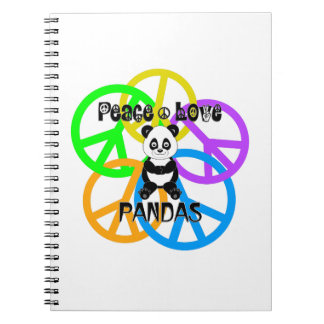 Peace Love Pandas Spiral Notebook