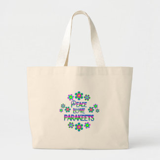 Peace Love Parakeets Large Tote Bag