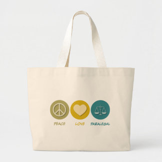 Peace Love Paralegal Large Tote Bag