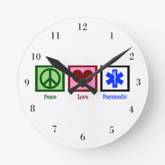 Peace Love Paramedic Round Clock