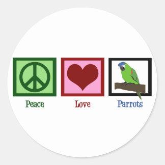 Peace Love Parrots Classic Round Sticker
