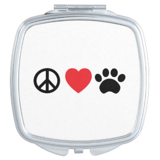 Peace, Love, Paw Compact Mirror
