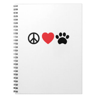 Peace Love Paw Spiral Notebook