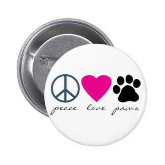 Peace Love Paws Buttons