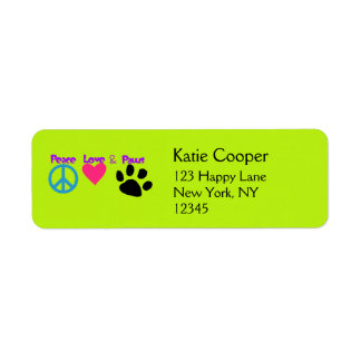 Peace Love & Paws Return Address Labels