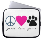 Peace Love Paws Laptop Computer Sleeve