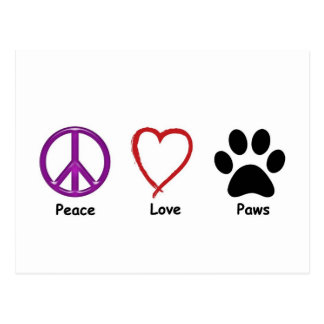 Peace Love Paws Postcard