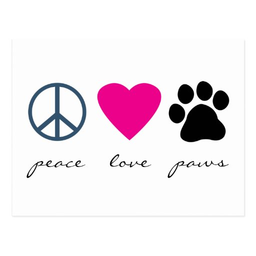 Peace Love Paws Postcards