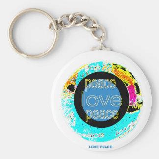 PEACE-LOVE-PEACE PORTE-CLÉ ROND