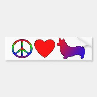 Peace Love Pembroke Welsh Corgis Bumper Sticker