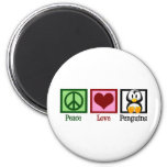 Peace Love Penguins 2 Inch Round Magnet