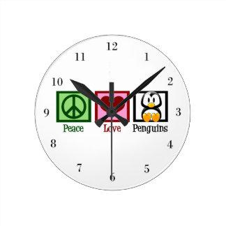 Peace Love Penguins Round Clock