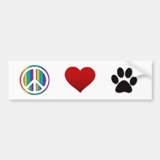 Peace Love Pets Bumper Sticker
