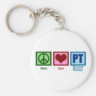 Peace Love Physical Therapist Basic Round Button Keychain