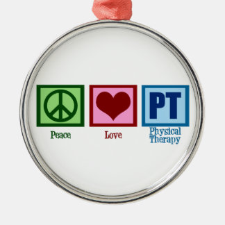 Peace Love Physical Therapist Silver-Colored Round Ornament