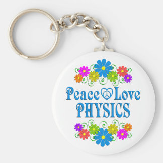 Peace Love Physics Basic Round Button Keychain