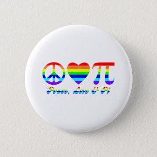 Peace, Love & Pi Rainbow 2 Inch Round Button