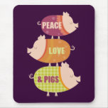 Peace Love Pig Stack Mousepads