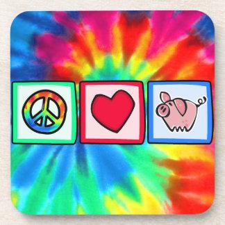 Peace, Love, Pigs Drink Coaster