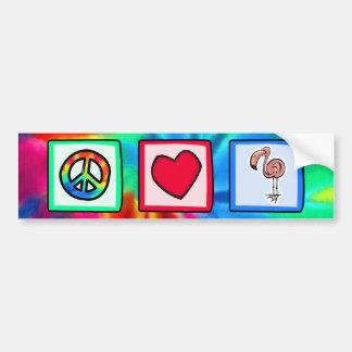 Peace, Love, Pink Flamingos Bumper Sticker